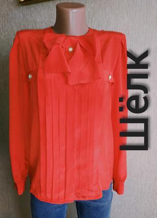 Винтаж! роскошная фирменная блуза из натурального шелка,р.36,38