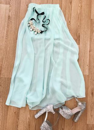 Шифоновая юбка макси красивого мятного цвета
