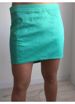 Юбка, спідниця, бирюзовая юбка от terranova, мини юбка, бирюзово-зеленная мини юбка.