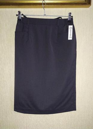 Стильная юбка карандаш с карманами, полушерсть, р.36-38