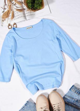 Голубой лонгслив женский, женская футболка с длинным рукавом