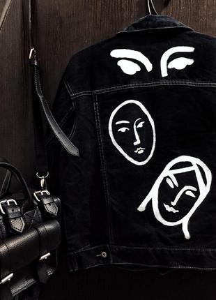 Куртка . джинс . ручная работа . винтаж . ручная роспись