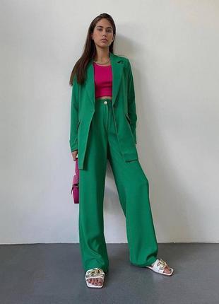 Костюм двойка прогулочный классический деловой брючный изумруд зелёный пиджак брюки палаццо клеш