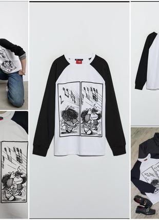 Орининальный черно- белый лонгслив от zara с принтом mafalda