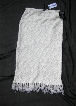 Белая миди юбка с бахромой nly design англия