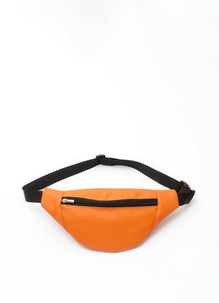 Яркая женская оранжевая универсальная вместительная бананка, сумка на пояс