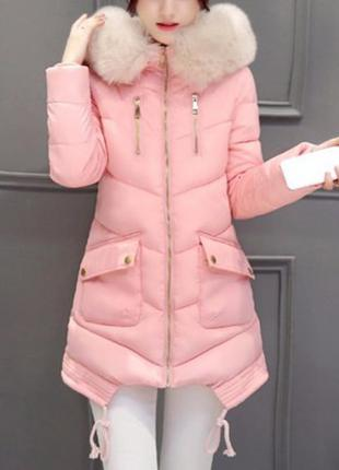 Распродажа асимметричная куртка с накладными карманами и мехом на капюшоне lm