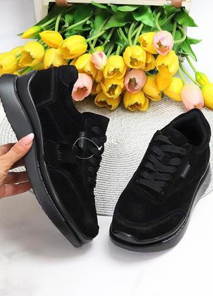 Классические черные замшевые женские кроссовки натуральная замша шнуровка