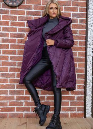 Зимний пуховик одеяло модного кроя сливовый  l xxl xxxl