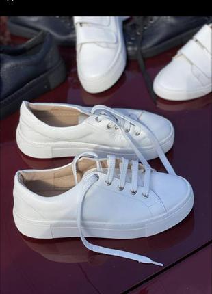 Белые кожаные базовые кеды кроссовки мягкие