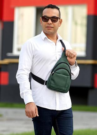 Зеленая трендовая вместительная мужская сумка через плечо слинг
