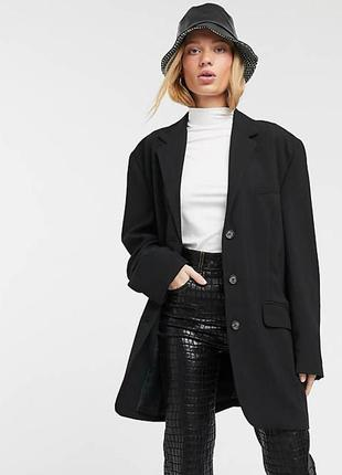 Черный oversize-пиджак с подплечниками weekday пиджак на пуговицах