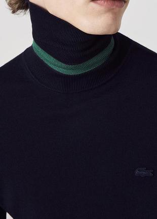 Кофта гольф водолазка свитер lacoste classic. оригинал. шерсть! xs