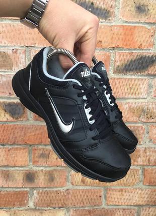 Кожаные кроссовки фитнес аэробика чёрные туфли 100% кожа nike steady
