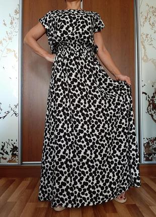 Красивейшее натуральное платье макси в горошек из 100% вискозы