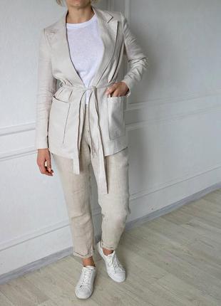 Льняной пиджак с поясом от mango xs