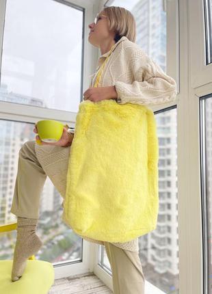 Эко сумка шоппер торба @don.bacon меховая жёлтая