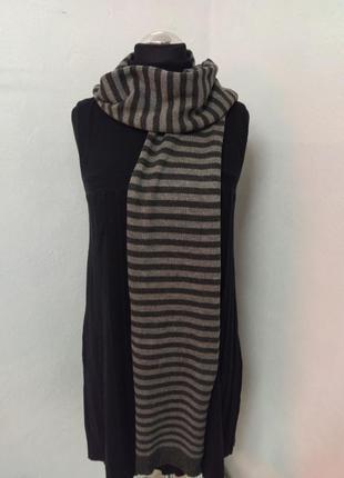 Разноцветный полосатый вязаный шарф