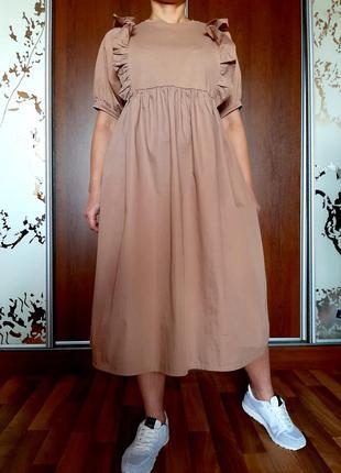 Стильное бежевое платье миди из 100% хлопка