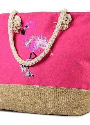 Женская пляжная сумка с канатными ручками розовая  (996646641)  фламинго