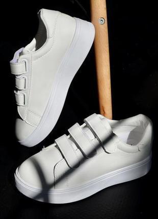 Скидка ! кроссовки кожаные на липучках, базовые кеды на липучках, женские кеды белые