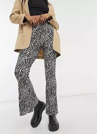 Стильные клешные штани topshop анималистический принт зебра