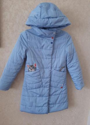 Голубое пальто, удлиненная куртка для девочки рост 122-128 anernuo оригинал