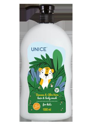 Детский шампунь для волос и тела unice с экстрактом банана и алоэ вера 1000мл