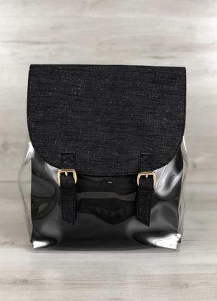 Рюкзак силиконовый с косметичкой женский молодежный прозрачный модный рюкзак с блестками