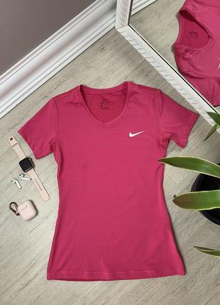 Женская футболка nike dri fit найк спортивная тренировочная оригинал розовая