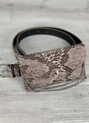 Молодежная маленькая сумочка клатч на пояс коричневая мини сумка бананка под кожу змеи