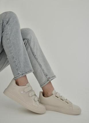 Скидка ! кроссовки на липучках, базовые кеды на липучках, женские кеды беж