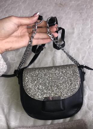 Сумка сумочка серебро чорна чёрная клатч кросбоди