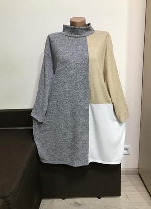 Аккуратный теплый свитер под горлышко р.22