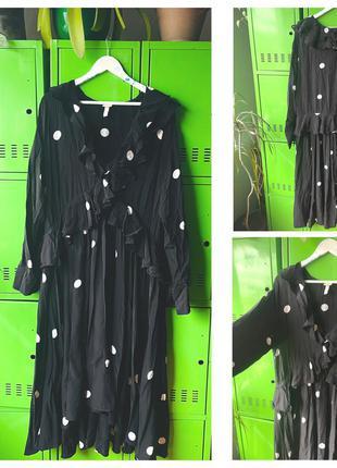 H&m чёрное длинное платье с воланами в горох