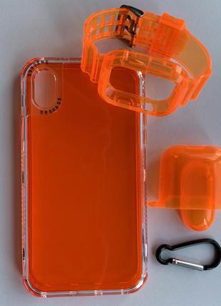Оранжевый прозрачный противоударный чехол на айфон iphone xr xs max 11 12 pro max