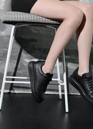 Скидка ! черные женские кеды ,черные кроссовки на платформе!
