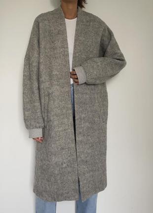 Пальто шерстяное кокон бойфренд в стиле zara mango cos