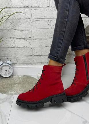 36-41 рр деми/зима ботинки на шнурках натуральная замша/кожа