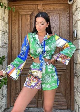 Супер стильный комплект на лето, рубашка + шорты, костюм в стиле хиппи