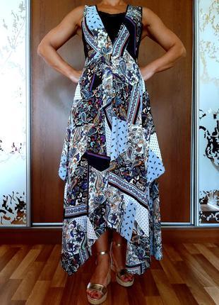 Красивейший ассиметричный сарафан с ярким принтом в стиле бохо