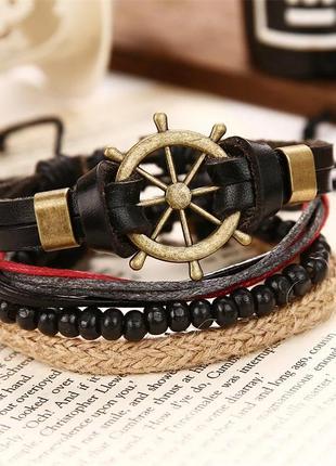 Набор кожаных браслетов черный бежевый