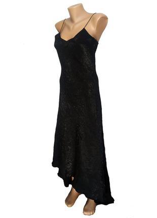 Длинное черное фактурное вечернее платье от французкого бренда lu lu fih