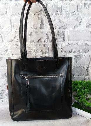 Женская кожаная большая сумка жіноча шкіряна сумочка шопер