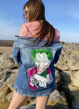 Джинсовая куртка оверсайз, джинсовка с принтом джокер