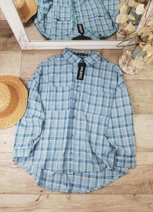 Фирменная стильная удлинённая оверсайз рубашка в клетку boohoo💙