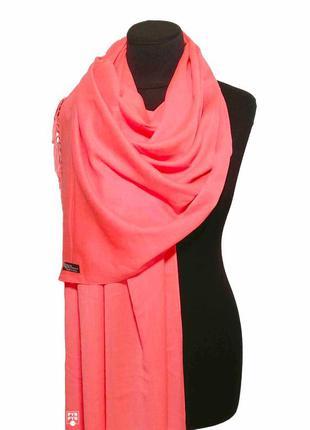 Хлопковый шарф палантин хлопок неон кораллово-розовый демисезонный легкий однотонный новый