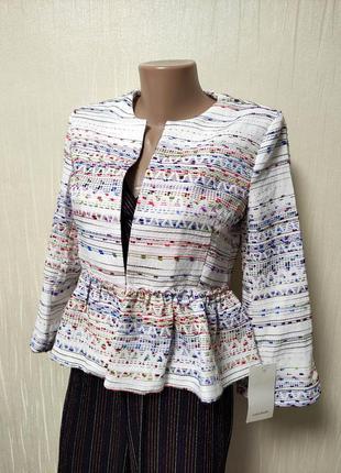 Женский нарядный белый пиджак жакет болеро накидка на платье