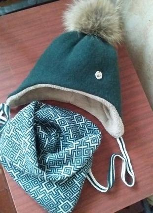 Теплый, легкий зимний набор шапка м хомут съемный помпон енот