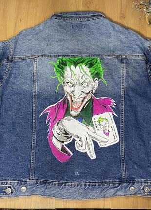 Джинсовая куртка с принтом, джинсовка оверсайз унисекс